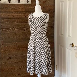 Talbots gray and ivory polka dot dress.  EUC.